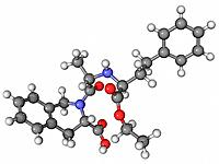 Quinapril, molecular model. This is an ACE inhibitor drug used to treat hypertension high blood pressure and congestive heart failure. Atoms are repre...