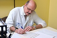 Photo essay from hospital. Department of diabetology endocrinology of St Louis Hospital in Paris, France. Consultation of podology of Dr Acker. The do...