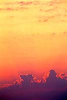 Cloud at sunset with orange sky