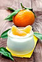 fresh yogurt with mandarin