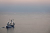 Ships Sailing on Aegean Sea at sunset, Oia, Santorini, Cyclades Islands, Cyclades Prefecture, Greece, Europe