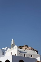 white church on the hill, Oia, Santorini, Cyclades Islands, Cyclades Prefecture, Greece, Europe