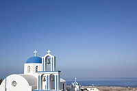 Blue domed church in Santorini, Cyclades Islands, Cyclades Prefecture, Greece, Europe