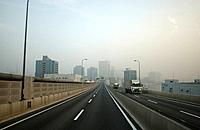 Office buildings and highway, Tokyo prefecture, Kanagawa prefecture, Japan