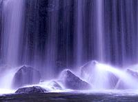 Close up of waterfall, long exposure, Inawashiro Town, Fukushima prefecture, Japan