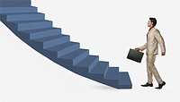 Businessman moving up staircase