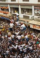 People celebrating Dahi Handi festival, Mumbai, Maharashtra, India