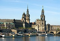 Annual steam ship parade on the Elbe River near the old town of Dresden in Germany