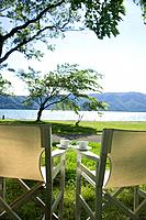 Chairs in a park by the lake, Towada, Aomori Prefecture, Japan