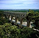 Roman Aqueduct Across River Gard with Three Tiers of Arches. Built in 19 AD To Carry Water to Nimes with Walkway on the Top Tier. A UNESCO World Herit...