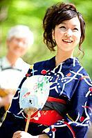 Mother and daughter wearing Yukata