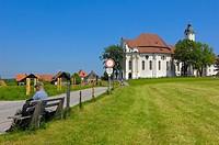 Wieskirche, Wies church, Wies, Near Steingaden, UNESCO World Heritage Site, Romantic Road, Romantische Strasse, Upper Bavaria, Bavaria, Germany, Europ...