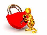 Man with lock. 3d