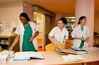 Photo essay from hospital. Hospital of Meaux 77, France. Maternity. Department of admissions. Midwives and nurse.