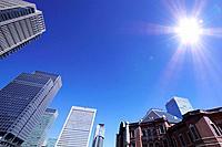 Sun shining on Marunouchi building group, Marunouchi, Chiyoda_ku, Tokyo, Japan