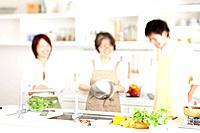A family cooking