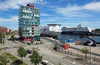D-Kiel, Kiel Fjord, Baltic Sea, Schleswig-Holstein, Kiel harbour, terminal Schwedenkai, Stena Line ferry at terminal Bollhoernkai, HafenHaus, administ...