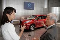 Japan, Tokyo, Ginza, Chuo & Hamuri Dori Street, kanji, hiragana, katakana, characters, symbols, Nissan Leaf, electric vehicle, car, models, zero emiss...