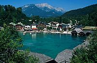 The narrow mountain lake of Konigssee is surrounded by high peaks,in the bERCHTESGADENER LAND NATIONAL PARK. it is a resort for visitors.