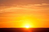 sunrise over level horizon, florida, usa