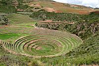 circular incan agricultural terraces, moray peru