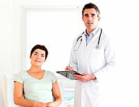 Doctor and patient looking into a camera in a room