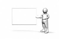 Illustrated white figure standing next to a copyspace