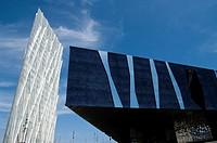 Spain. Barcelona city. Diagonal Zero Zero Tower (2011) designed by the architec Enric Massip and the Forum Building.