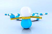 diet pills with tape meter 3d illustration
