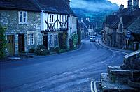 Houses and main street at the village of Castle Combe in Wiltshire, South West England, Great Britain, Europe