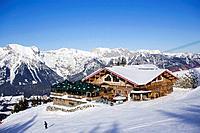 View over snow covered Schafalm to summit of the Dachsteinregion, Planai, Schladming, Ski Amade, Styria, Austria