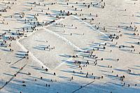 Aerial view of an ice hockey pitch and visitors on the frozen lake Maschsee in Hannover, Lower Saxony, Germany