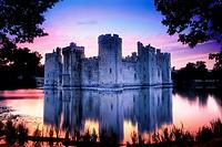 Bodiam Castle, Sussex, England, UK at sunset
