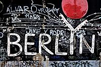 East Side Gallery consists of paintings by artists from all over the world painted on the east side of the Berlin Wall, Muehlenstrasse, Berlin_Friedri...