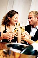Group of People Drinking Champagne at Party