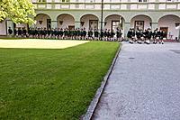 Guards in traditional bavarian clothes, Corpus Christi procession, Benediktbeuern, Alpine foreland, Upper Bavaria, Bavaria, Germany