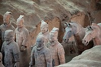 Soldiers of The Terracotta Army of the First Emperor of China, near the mausoleum of Shi Huangdi near Xi´an, Shaanxi Province, People´s Republic of Ch...