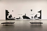 Paper cut art work, entrance hall of the museum, benches, Museum of Modern Art, MoMa, Manhattan, New York City, United States of America, USA
