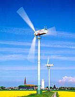 Wind wheels in rape field