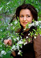 Portrait in a cherry garden