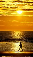 one single man walking along beach at sunset with sea and sun behind