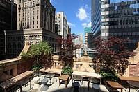 The Poetry Garden in the top terrace of The Library Hotel  New York City  USA.