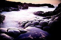 Basalt rock at sea side, ´Charco Azul´, El Hierro, Canary Islands, Spain