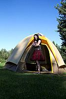A goth camping