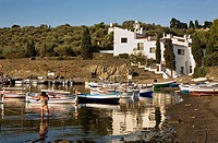 Bay of Portlligat  In background Salvador Dali´s House - Museum Costa Brava  Girona province  Catalonia  Spain