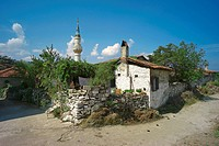 litlle Turkish village at Lake Bafa with minaret, Turkey, West Anatolia, Bafasee