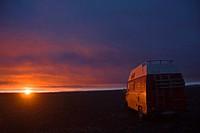 Kjalvegur 35 street, Kjoelur route, highland route at Fjoerdungsalda mounatin at sunset, Iceland