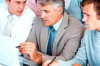 Portrait of a mature businessman interacting with his associates