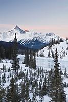 Mount Erasmus, Survey Peak, and North Saskatchewan River, Banff National Park, Alberta, Canada