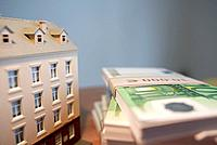 Model House and Stack of Euro Bills